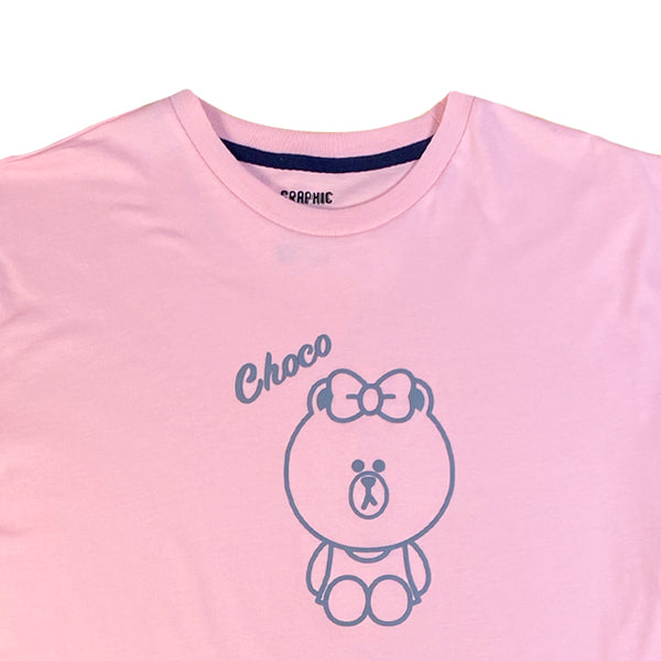 SPAO Unisex Short Sleeve Line Friends Graphic Tee SPLCA25C03 Pink
