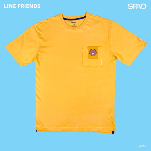 SPAO Unisex Short Sleeve Line Friends Pocket Tee SPLCA25C04 Yellow
