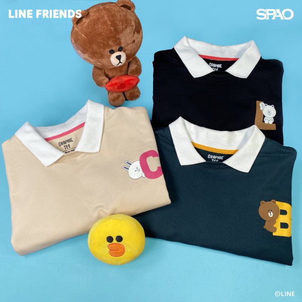 SPAO Unisex Long Sleeve Line Friends Collar Pullover SPLCA25C07 Beige