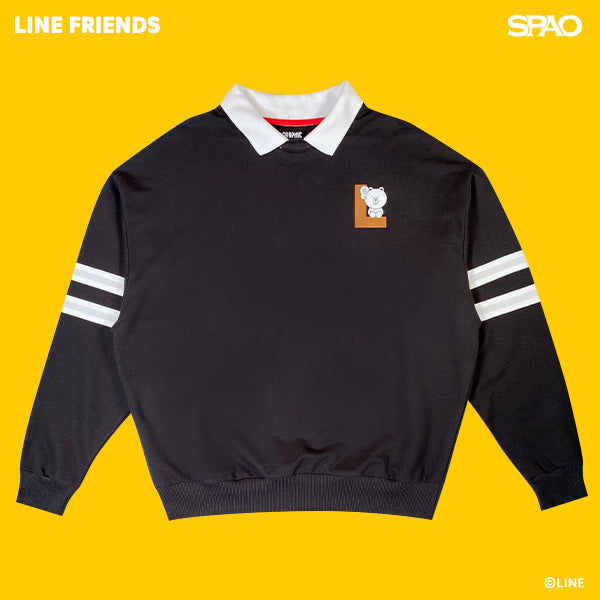 SPAO Unisex Long Sleeve Line Friends Collar Pullover SPLCA25C07 Black