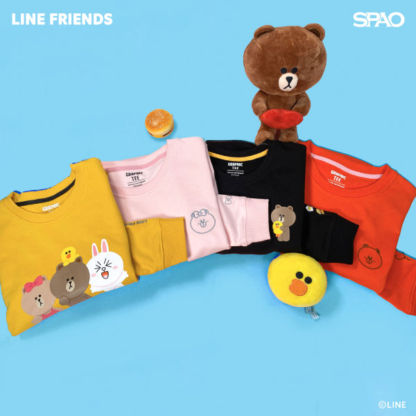 SPAO Unisex Long Sleeve Line Friends Pullover SPLCA25C08 Light Pink