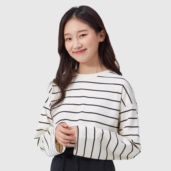 SPAO Women Long Sleeve Loose Fit Stripe Tee SPLS949G13