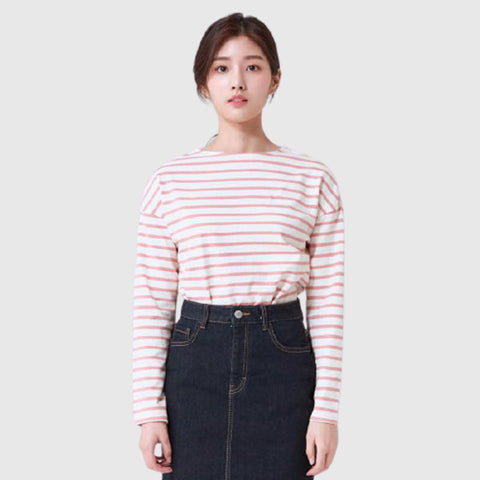 SPAO Women Long Sleeve Boat Neck Stripe Tee SPLSA23G06