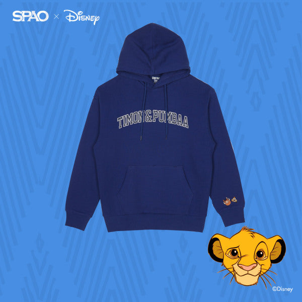 SPAO Unisex Long Sleeve Lion King Hoodie Pullover SPMB94TC05 Royal Blue