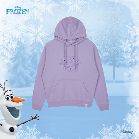 SPAO Unisex Long Sleeve Frozen Hoodie SPMBA11C02 Light Purple