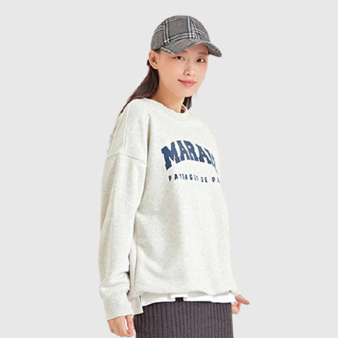 SPAO Women Long Sleeve Graphic Letter Pullover SPMWA49G08