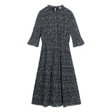 SPAO Women Long Sleeve Flower Pleated Dress SPOWA38W21