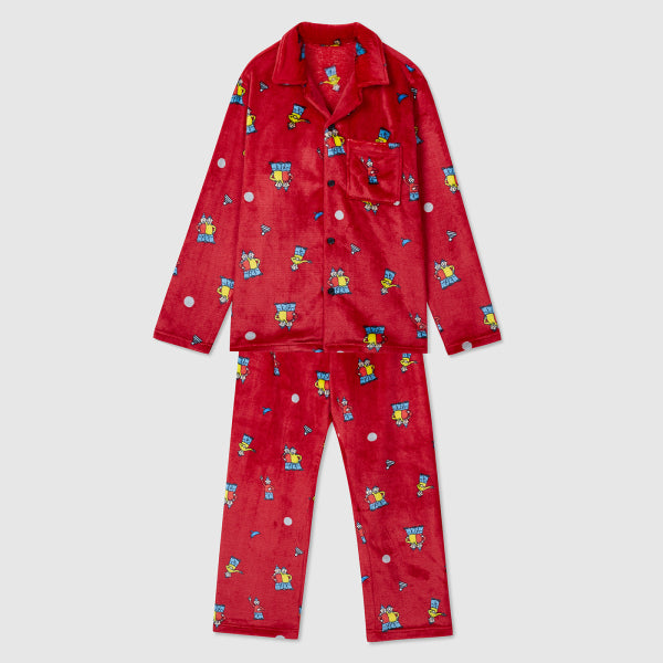 SPAO Unisex Long Sleeve Pat and Mat Fleece Pyjamas SPPPA4TU01 Red