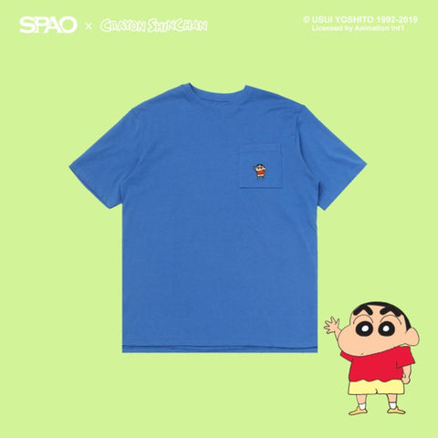 SPAO Unisex Short Sleeve Shinchan Pocket Tee SPRL923C92 Blue