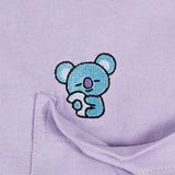 SPAO Unisex Short Sleeve BT21 Pocket Tee SPRL937C72 Violet