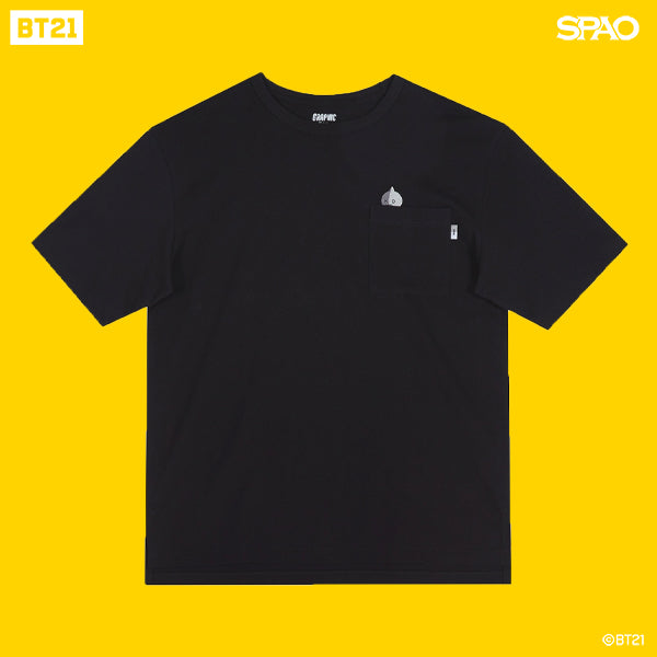 SPAO Unisex Short Sleeve BT21 Pocket Tee SPRL937C72 Graphic Black