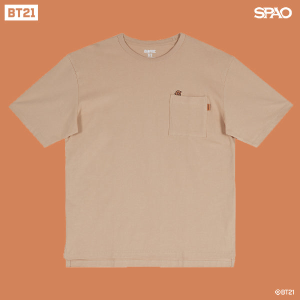 SPAO Unisex Short Sleeve BT21 Pocket Tee SPRL937C72 Light Beige