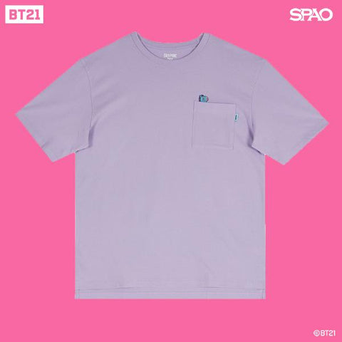SPAO Unisex Short Sleeve BT21 Pocket Tee SPRL937C72 Light Purple