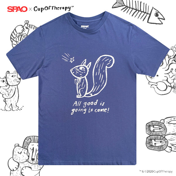 SPAO Unisex Short Sleeve Cup of Therapy Graphic Tee SPRLA23D03 Navy