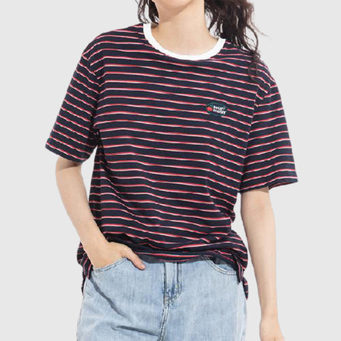 SPAO Women Short Sleeve Embroidery Striped Tee SPRSA25G30