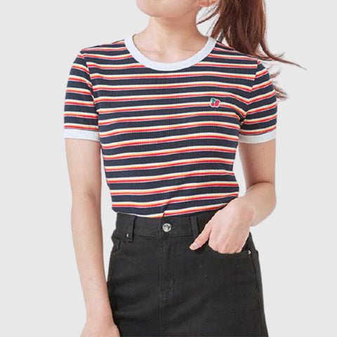 SPAO Women Short Sleeve Stripe Crop Tee SPRSA25G31