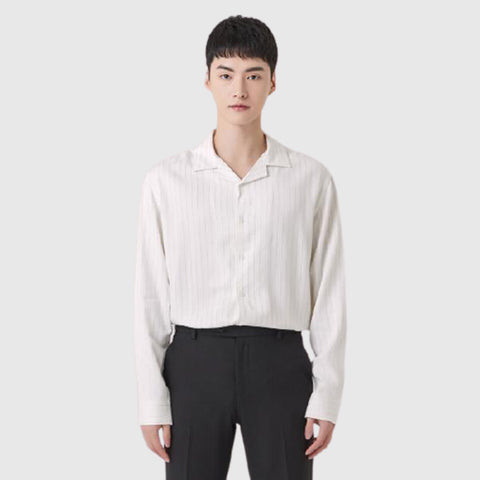 SPAO Man Long Sleeve Open Collar Shirt SPYAA23M04