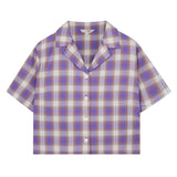 SPAO Women Short Sleeve Crop Open Collar Check Shirt SPYCA25G02
