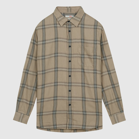 SPAO Men Long Sleeve Soft Flannel Loose Fit Check Shirt SPYCA49C11