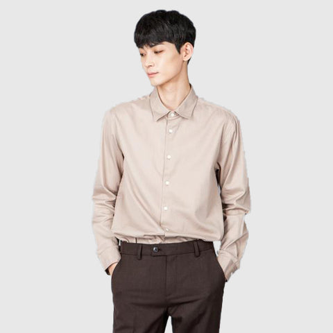 SPAO Men Long Sleeve Premium Cotton Solid Shirt SPYW838M03