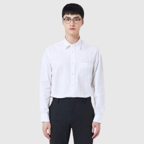 SPAO Men Long Sleeve Cotton Solid Shirt SPYWA23C11