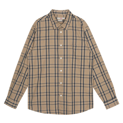 SPAO Men Long Sleeve Fine Cotton Check Shirt SPYWA23C13