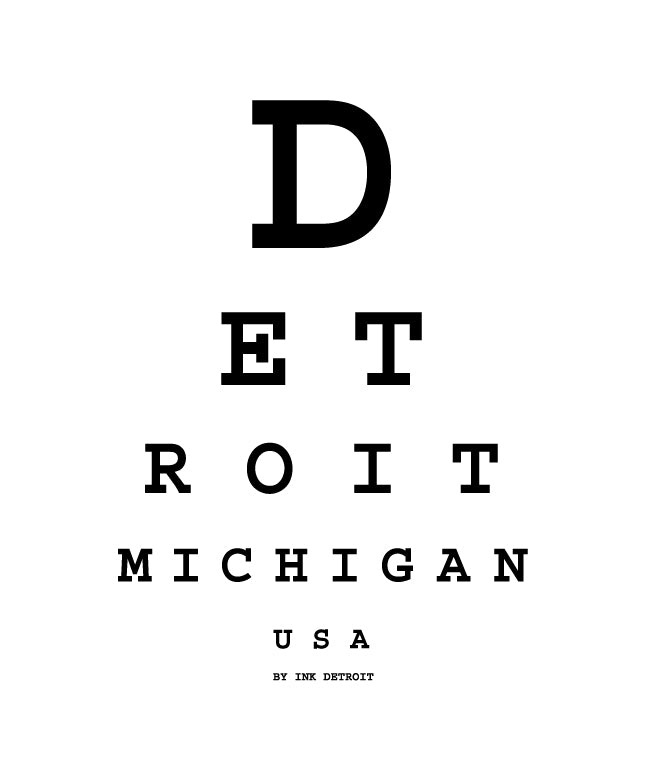 Ink Detroit Eye Chart White T-Shirt