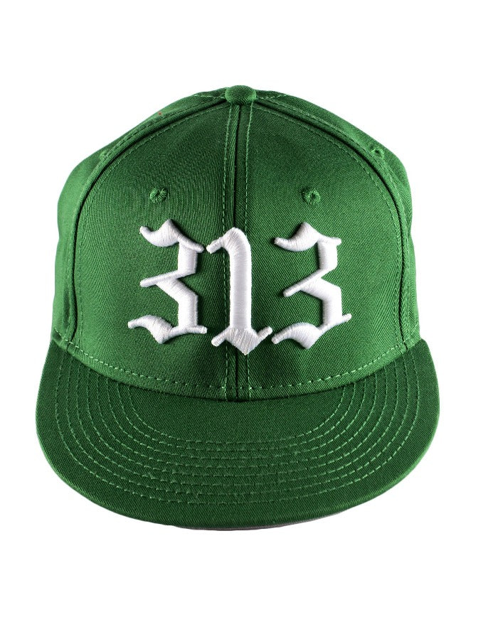Ink Detroit 313 Flat Bill Puff Print Snap Back Hat - Green