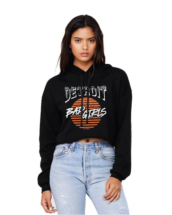 Ink Detroit Bad Girls Fleece Crop Hoodie - Black