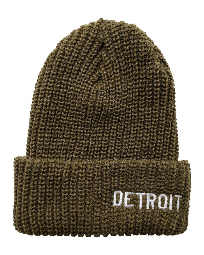 Ink Detroit Basic Detroit - Lumberjack Knit Beanie with Cuff - Olive