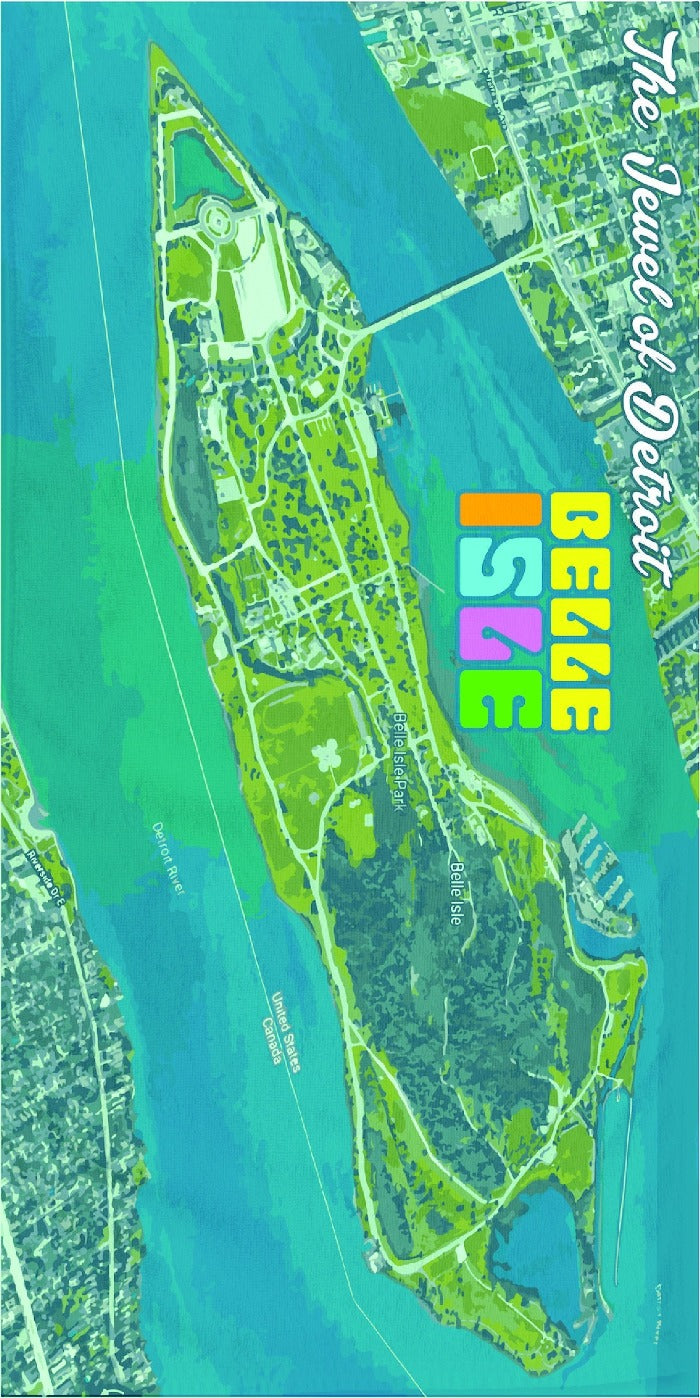 Ink Detroit Belle Isle Beach Towel