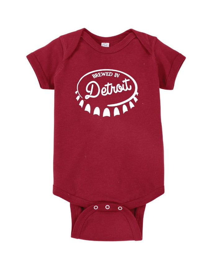 Ink Detroit Brewed In Detroit Baby Onesie - Garnet