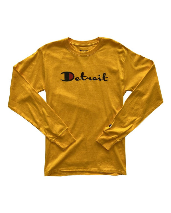 Ink Detroit Champion Long Sleeve T-Shirt - Gold