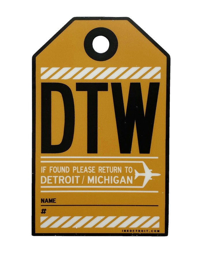 Ink Detroit DTW Luggage Tag Vinyl Die Cut Sticker