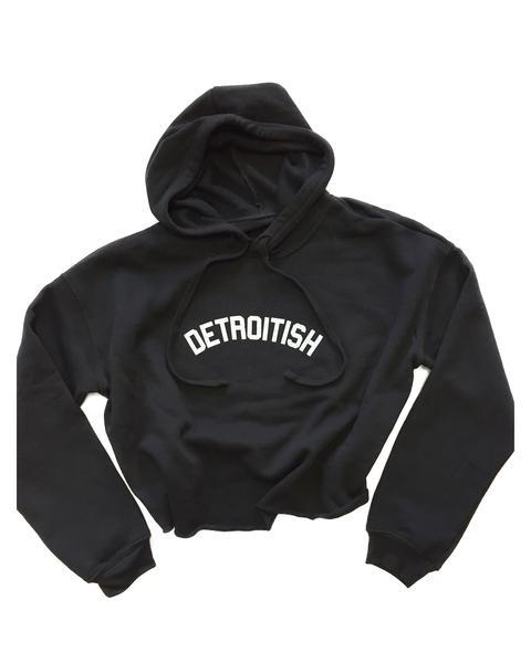 Ink Detroit Detroitish Fleece Crop Hoodie - Black