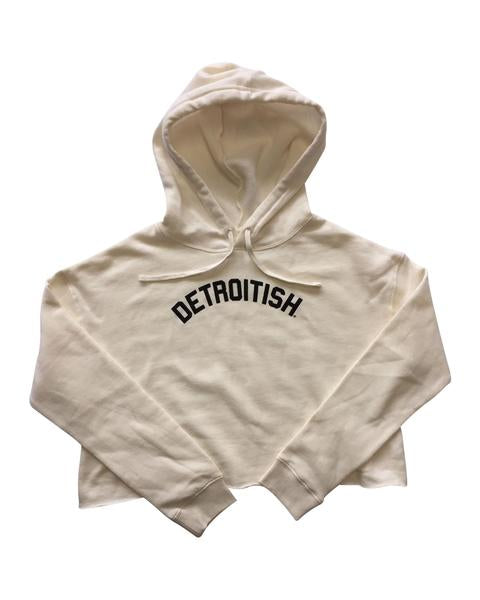 Ink Detroit Detroitish Fleece Crop Hoodie - Bone