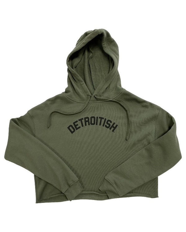 Ink Detroit Detroitish Fleece Crop Hoodie - Military Green