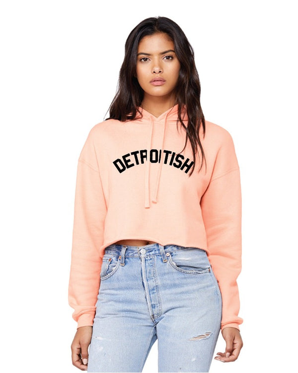 Ink Detroit Detroitish Fleece Crop Hoodie - Peach
