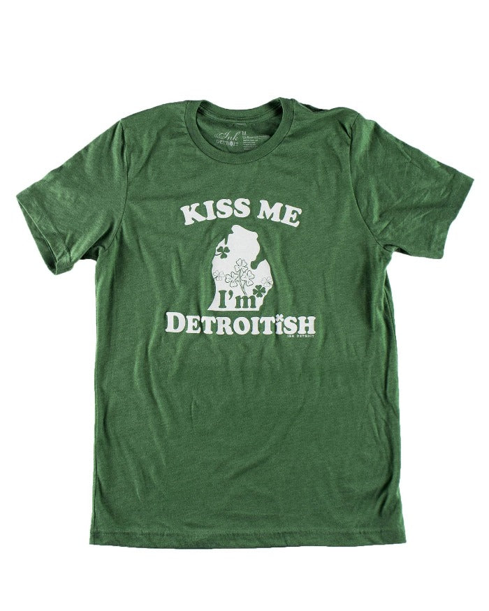 Ink Detroit Detroitish Kiss Me Short Sleeve T-Shirt - Heather Green