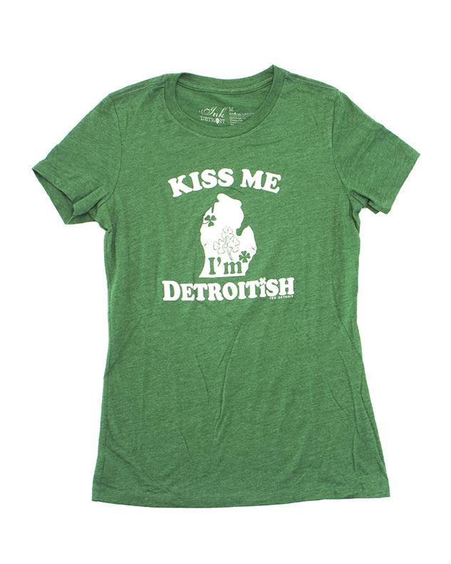 Ink Detroit Detroitish Kiss Me Women's Junior Fit T-Shirt -  Heather Green
