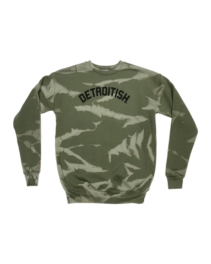Ink Detroit Detroitish Limited Edition Reverse Dye Military Green Crewneck Sweatshirt