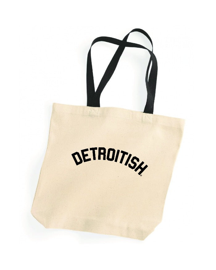 Ink Detroit Detroitish Natural Tote Bag with Black Handles