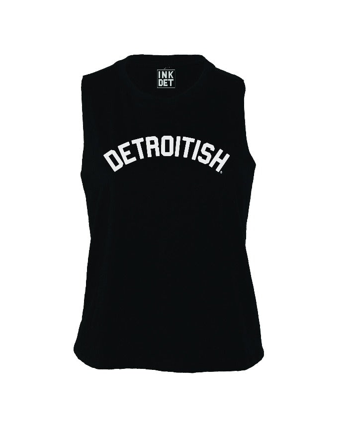 Ink Detroit Detroitish Racerback Crop Tank Top - Black