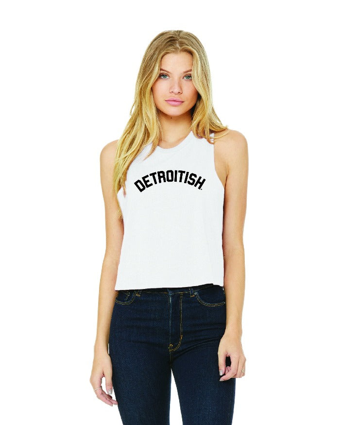 Ink Detroit Detroitish Racerback Crop Tank Top - White
