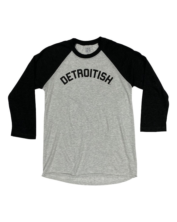 Ink Detroit Detroitish Tri Blend 3/4 Sleeve Raglan T-Shirt - Black
