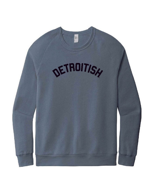 Ink Detroit Detroitish Washed Denim Blue Crewneck Sweatshirt