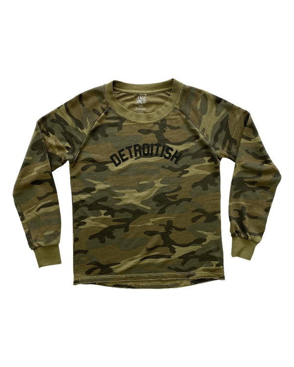 Ink Detroit Detroitish Women's Camouflage French Terry Sweatshirt
