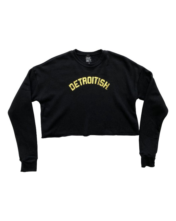 Ink Detroit Detroitish Women's Cropped Fleece Crewneck Sweatshirt - Black with Gold Foil