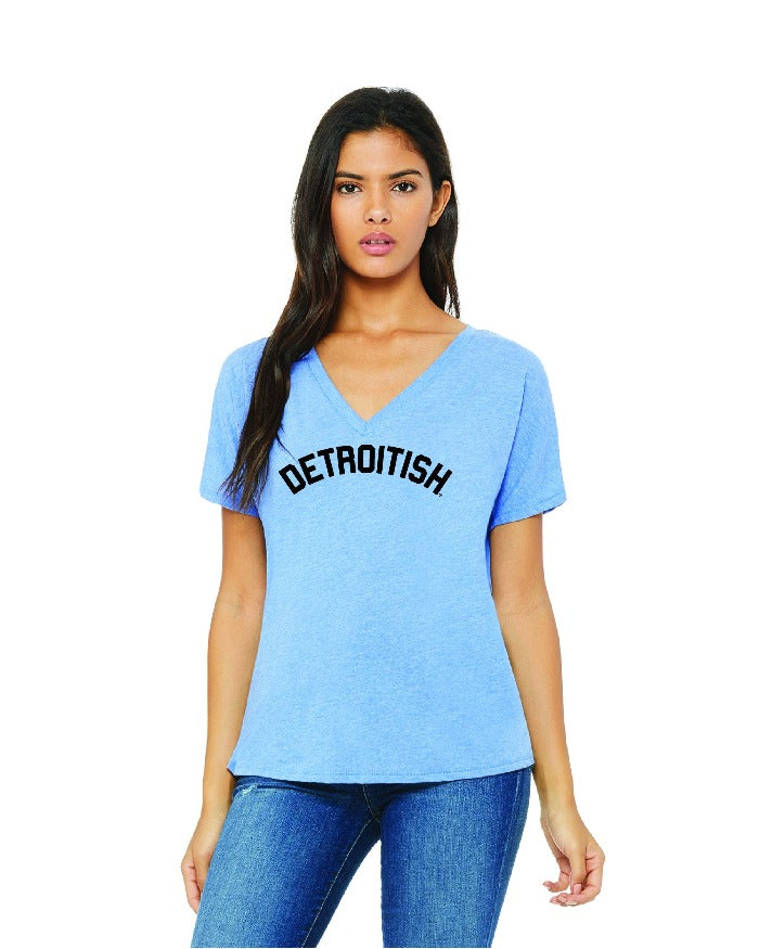 Ink Detroit Detroitish Women's slouchy v-neck t-shirt - Blue