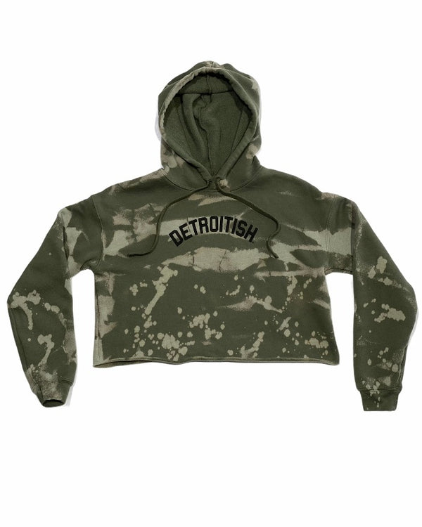 Ink Detroit Detroitish Limited Edition Reverse Dye Fleece Crop Hoodie - Military Green